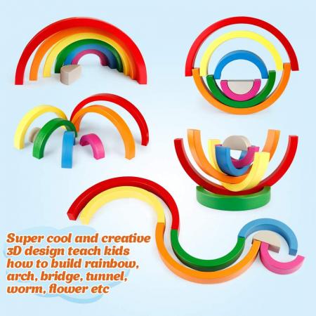 Joc din Lemn Curcubeu 7 piese Rainbow Block2