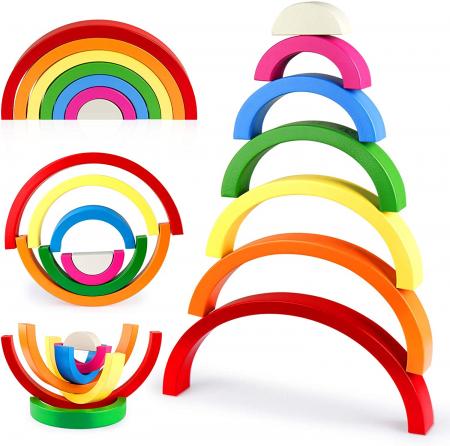 Joc din Lemn Curcubeu 7 piese Rainbow Block1