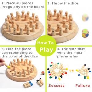 Joc din lemn Memorie CHESS -Joc din lemn cu Pioni5