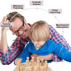 Joc din lemn Memorie CHESS -Joc din lemn cu Pioni7