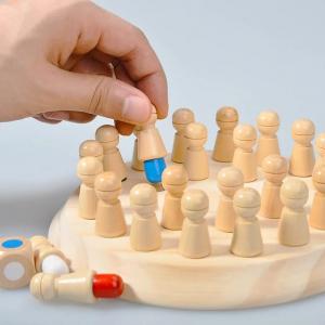 Joc din lemn Memorie CHESS -Joc din lemn cu Pioni4