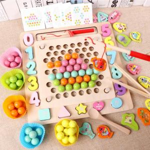 Joc din Lemn Montessori Sortator Culori 4 in 1 - Joc de Pescuit,Cifre, Forme geometrice0