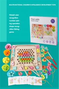 Joc din Lemn Montessori Sortator Culori 4 in 1 - Joc de Pescuit,Cifre, Forme geometrice1