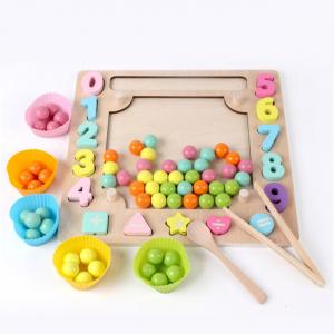 Joc din Lemn Montessori Sortator Culori 4 in 1 - Joc de Pescuit,Cifre, Forme geometrice16