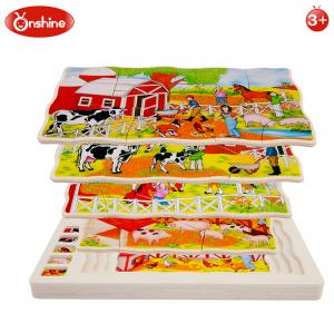 Joc din lemn Puzzle in straturi Onshine Animale8