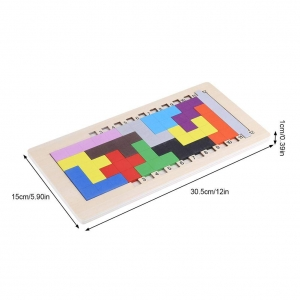 Joc din lemn puzzle Tetris Tangram 3D1
