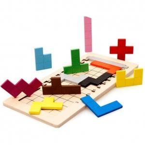 Joc din lemn puzzle Tetris Tangram 3D2