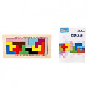 Joc din lemn puzzle Tetris Tangram 3D5