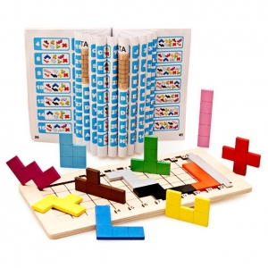 Joc din lemn puzzle Tetris Tangram 3D4
