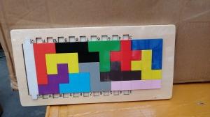 Joc din lemn puzzle Tetris Tangram 3D0
