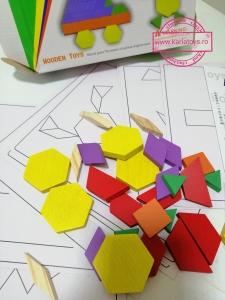 Joc din Lemn Tangram Puzzle Blocks 125 piese - 250 piese10