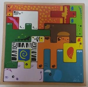 Joc din lemn tetris cu animale 3D1