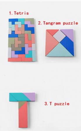 Joc din lemn Tetris si Tangram 5 in 15