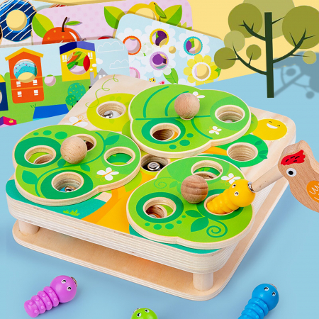 Joc Educativ Montessori Ciocanitoare Joc magnetic dexteritate din lemn Joc Educativ Montessori Ciocanitoare Joc magnetic dexteritate din lemn [0]