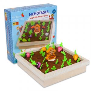 Joc lemn Memorie Gradina cu Legume - Joc Montessori din Lemn Gradina cu Legume0