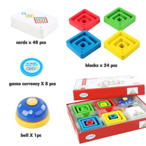 Joc Lemn de Societate Stivuire Stacking Game - Joc din Lemn Senzorial Forme Geometrice7