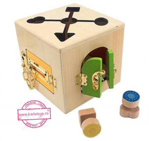 Joc Lemn Incuietori 2 in 1- Joc Cub Inchizatori din lemn cu labirint3
