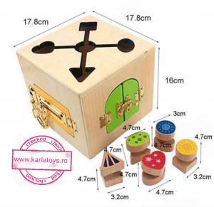 Joc Lemn Incuietori 2 in 1- Joc Cub Inchizatori din lemn cu labirint4