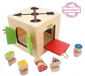 Joc Lemn Incuietori 2 in 1- Joc Cub Inchizatori din lemn cu labirint0