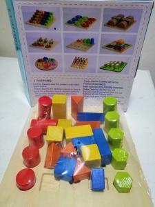 Joc lemn montessori forme geometrice - Joc Montessori Scara din lemn învățare lungime formă geometrică [7]