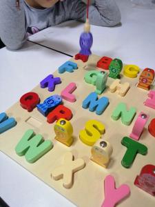 Puzzle 3D Litere si Joc de Pescuit  - Joc Puzzle Lemn Litere Mari 2 in 15