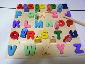 Puzzle 3D Litere si Joc de Pescuit  - Joc Puzzle Lemn Litere Mari 2 in 13