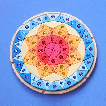Joc lemn Puzzle montessori Mandala Soare cu pietre sclipitoare4