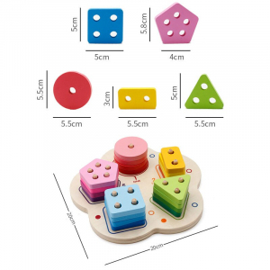 Joc lemn stivuire forme geometirce fracti si intreg 5 coloane  Geometric Stacker Chunky Board9