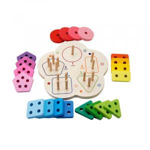 Joc lemn stivuire forme geometirce fracti si intreg 5 coloane  Geometric Stacker Chunky Board1