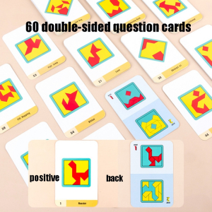 Joc din lemn gandire logica Tangram Puzzle 3D - Puzzle Poligon1
