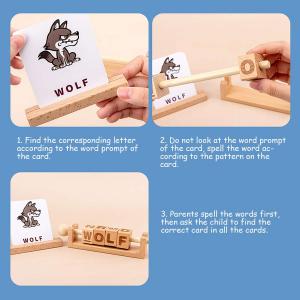 Joc Montessori din lemn Alfabetul 3D si carduri cuvinte in limba engleza2