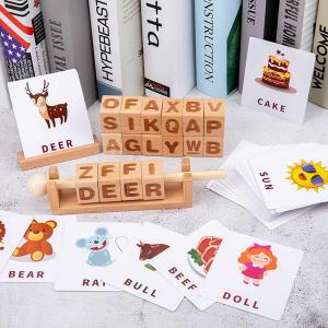 Joc Montessori din lemn Alfabetul 3D si carduri cuvinte in limba engleza0