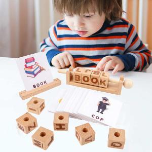 Joc Montessori din lemn Alfabetul 3D si carduri cuvinte in limba engleza1