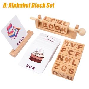 Joc Montessori din lemn Alfabetul 3D si carduri cuvinte in limba engleza4