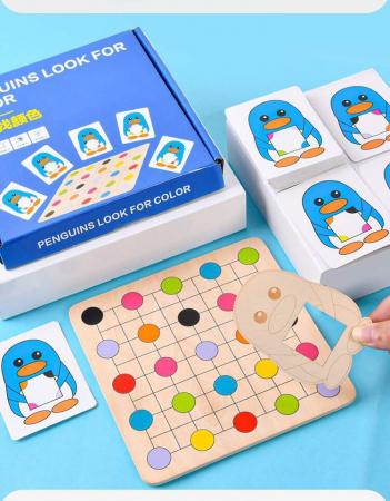 Joc Montessori Educativ din lemn Potrivire culori Pinguinul [2]