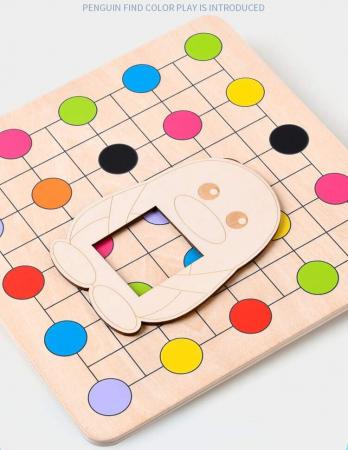 Joc Montessori Educativ din lemn Potrivire culori Pinguinul [1]