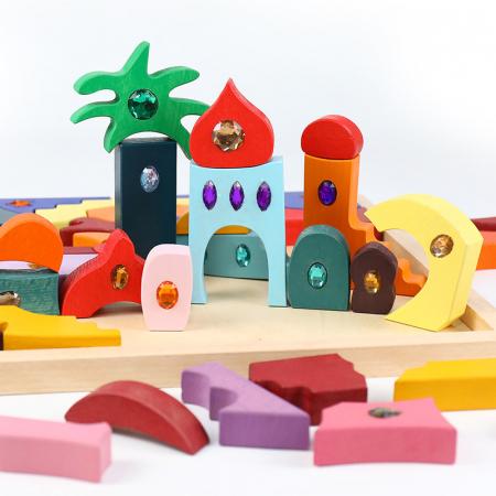Joc Montessori set constructie Casa Orient 52 de piese3