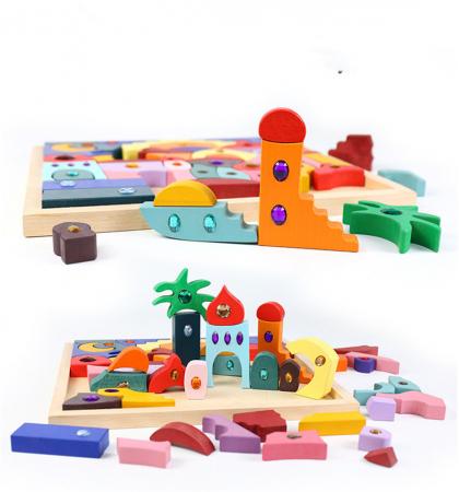 Joc Montessori set constructie Casa Orient 52 de piese2