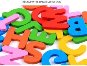 Joc Puzzle Litere 3d din Lemn fructe - litere si animale3