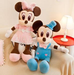 Jucarie de plus Mickey Bleu - Minnie Mouse Roz cu palarie6