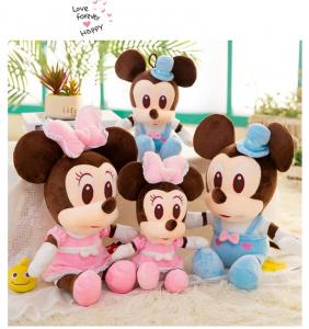 Jucarie de plus Mickey Bleu - Minnie Mouse Roz cu palarie2
