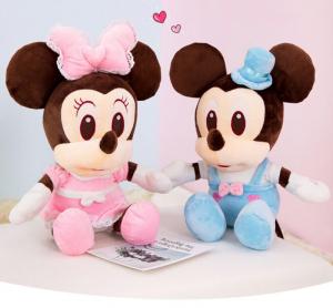 Jucarie de plus Mickey Bleu - Minnie Mouse Roz cu palarie1