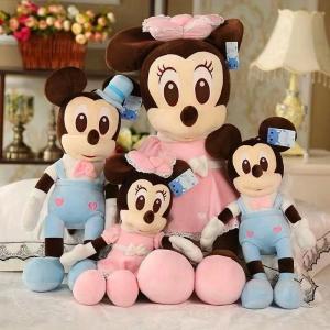 Jucarie de plus Mickey Bleu - Minnie Mouse Roz cu palarie0