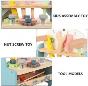 Jucarie din Lemn Montessori Banc de Scule Pastel - Masa de lucru copii8