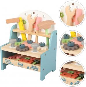Jucarie din Lemn Montessori Banc de Scule Pastel - Masa de lucru copii7
