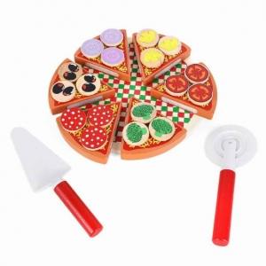 Pizza din Lemn de feliat pentru Copii - Joc de Lemn Pizza1