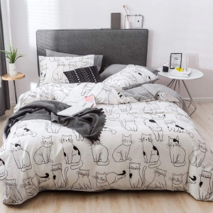 Lenjerie pat copii cu pisici Lenjerie pat dublu bumbac satinat0