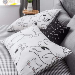 Lenjerie pat copii cu pisici Lenjerie pat dublu bumbac satinat3