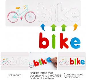 Joc Puzzle Litere din Lemn Mntessori - Puzzle Alfabet din lemn Carti Flash.4