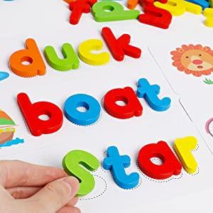 Joc Puzzle Litere din Lemn Mntessori - Puzzle Alfabet din lemn Carti Flash.6